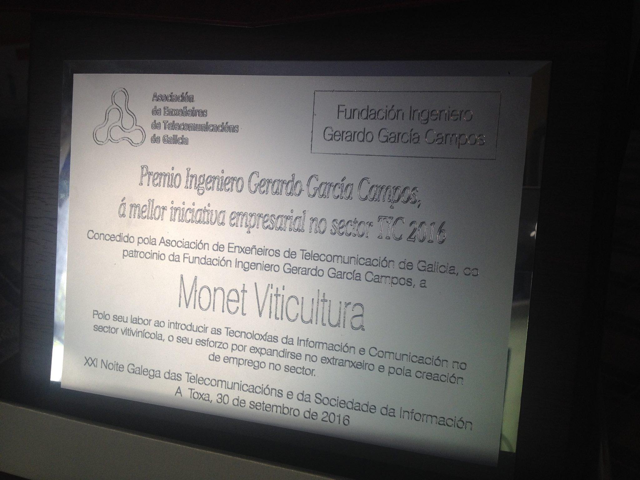 Premio Gerardo García Campos a la mejor iniciativa empresarial TIC 2016